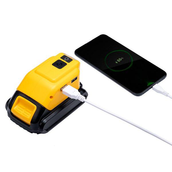 12V/2A 5V/2.1A Adapter LED Light Working Lamp Flashlight Torch USB Mobile Phone Charger For 14V-20V Li-Ion Battery