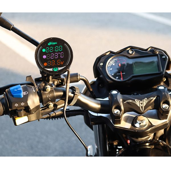 4 in 1 Multifunctional Motorcycle Voltmeter LED Night Vision USB Charging Digital Meter Voltage Clock Time Thermometer 4-in-1 Combination Table