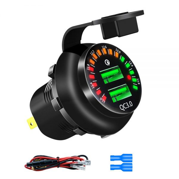 QC3.0 Dual USB Charger Quick Charge Socket Adapter Power Outlet With Voltmeter Display For Car Motorcycle Boat