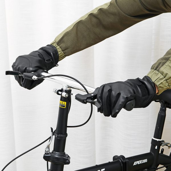 DC 12V / USB 5V Winter Electric Heated Full Finger Gloves Windproof Cycling Warm Heating Touch Screen