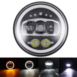 """7"""" Round LED Headlights for Jeep Wrangler DRL & Amber Turn Signal Lights"""