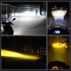 2pcs 12V-80V 12W 1200LM Motorcycle H4 LED Headlight Bulb Super Bright Moto Lens Headlamp Hi/Lo Beam Dual Color 6000K 3000K