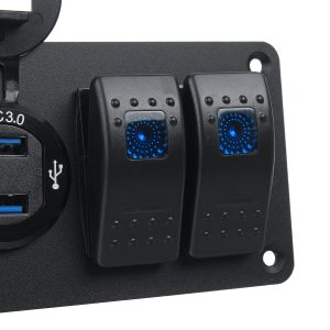 6 Gang Rocker Switch Panel with USB Charger Voltmeter