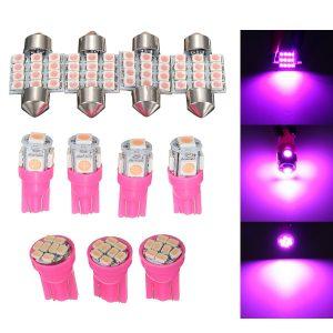 11PCS Auto Car Purple Interior Bright LED Light Lamp License Plate Dome T10 & 31mm