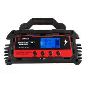 DEMUDA 12V-24V 10A/20A Fast Charging Battery Charger LCD Display Intelligent Automatic Pulse Repair Power Supply For Motorycle Car Truck Water AGM GEL EFB Lead acid Battery