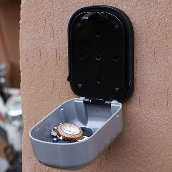 Key Lock Box Wall Mounted Aluminum Alloy Key Safe Box Weatherproof Gray / Black