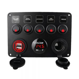Car Boat Switch Panel Waterproof Digital Voltmeter Dual USB Port 12V Outlet Combination Marine LED Rocker 5 Gang