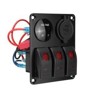 12V 3 Gang Dual USB ON OFF Toggle Switch Panel Socket LED Car Marine Boat Rocker