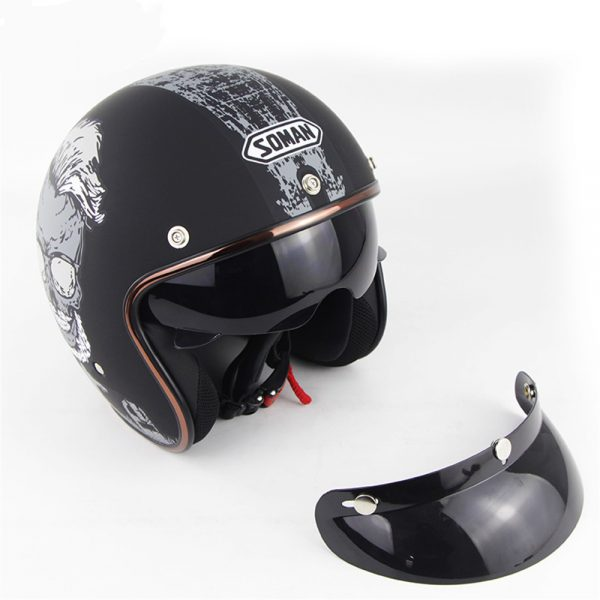 SOMAN SM521 Electric Vehicle Motorcycle Helmet Men Women Retro Helmet Four Seasons Universal Half Helmet