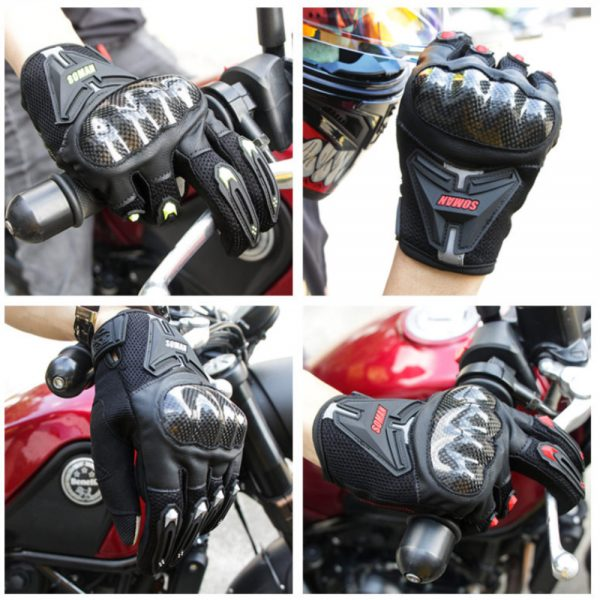 SOMAN MG19 Motorcycle Touch Screen Gloves Carbon Fiber Riding Men Women Protective Gears