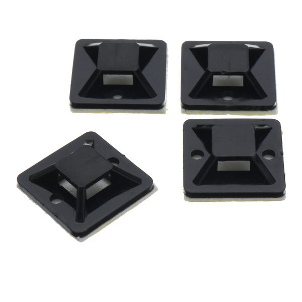 200Pcs/Pack 20x20mm Self-Adhesive Zip Tie Cable Wire Mounts Clamps Wall Holder Black