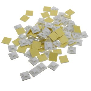 200Pcs/Pack 20x20mm Self-Adhesive Zip Tie Cable Wire Mounts Clamps Wall Holder White