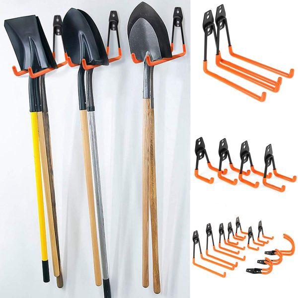 90PCS Wall Mounted Garage Hooks Set Workshop Garden Tools Storage Organizer