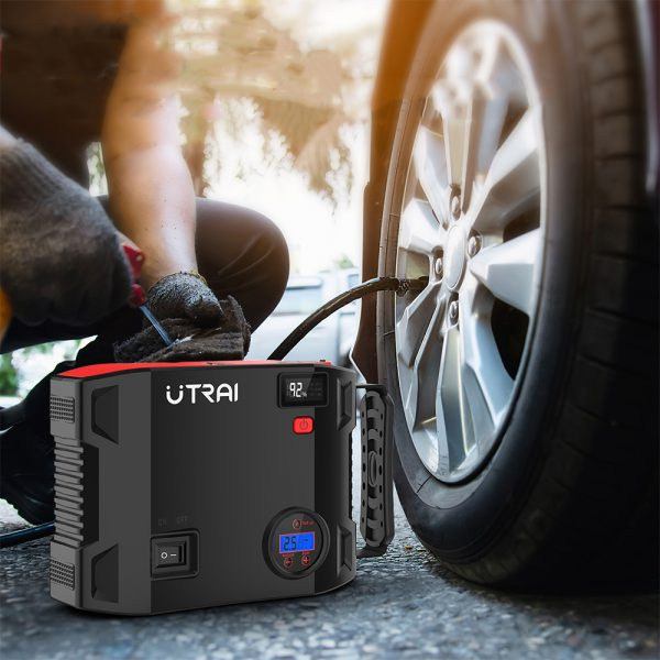 UTRAI 4 In 1 Air Compressor 150PSI Pump 12V Jump Starter 24000mAh Power Bank Digital Tire Inflator LED Emergency Battery Boost