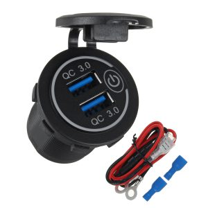 Dual USB Port Car Charger Socket QC 3.0 Fast Charging Outlet Car Truck Boat RV