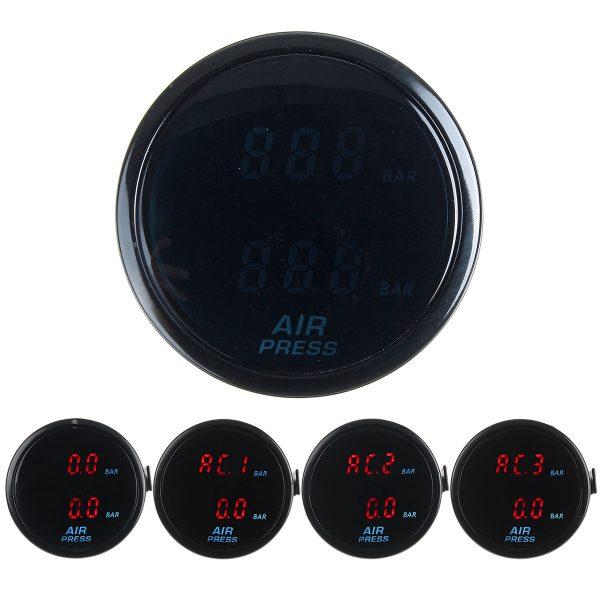 52mm Air Pressure Gauge Bar Dual Digital Display Air Ride Meter with Sensor Red LED