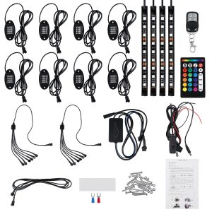 12V 8 Pods LED RGB Rock Light Underbody Neon Atmosphere Music Neon Lamp RF Dual Remote