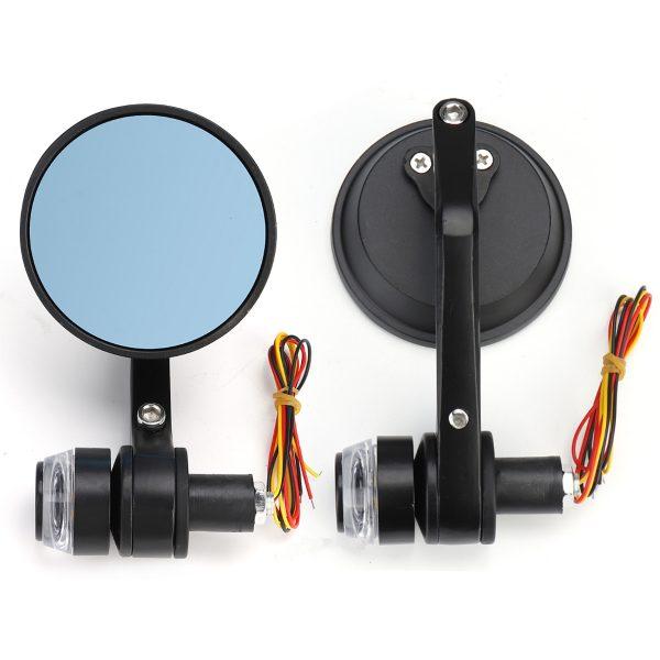 "2Pcs 7/8"" Handbar Motorcycle Side Rearview Mirrors Bar End Turn Signals Light"