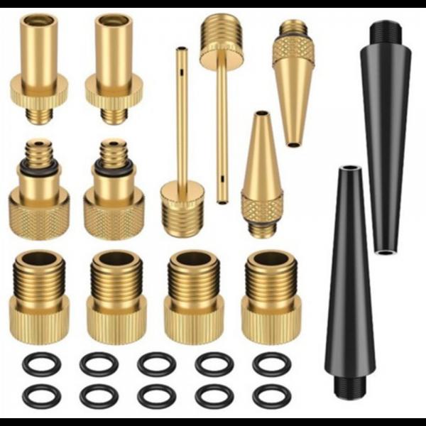 15/24PCS Copper Bicycle Valve Adapter Set Bike Tire Pump Adapter Kit Inflator Pump Accessory
