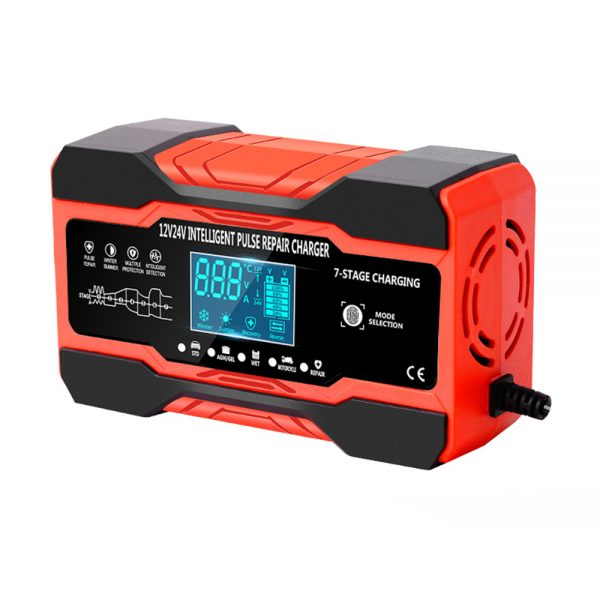 RJtianye 12V 24V 10A 180W Battery Charger High Power Pluse Repair Intelligent Digital LCD Display for Car Motorcycle