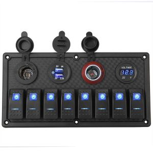 8 Gang USB Marine Boat 12V 24V LED Rocker Switch Panel Circuit Breaker Dual