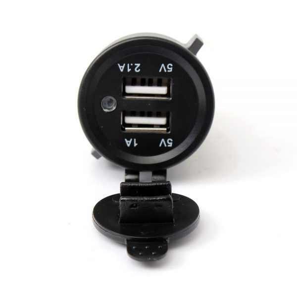 12V 24V 3.1A Socket Dual USB Spliter Charger Adapter with Cable for Motorcycle Car