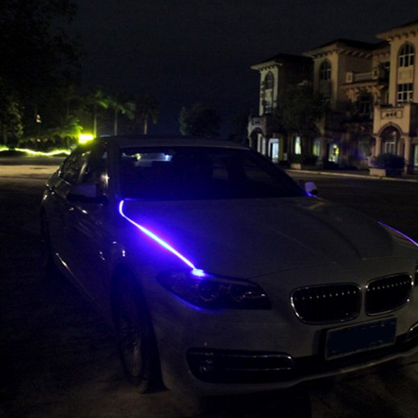 2PCS Hood LED Light Strip Grilles Under Spoiler Scanning LED Knight Rider