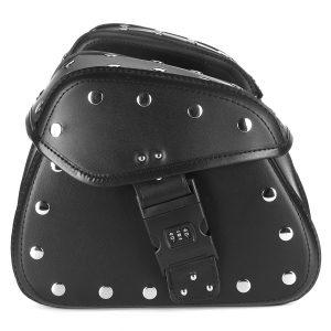 1 Pair Motorcycle Password Lock Saddlebags Side Storage PU Leather Saddle Bag Universal Black