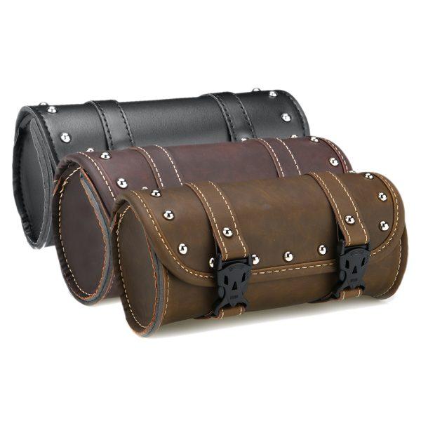 Motorcycle Fork Tool Bag Luggage Side Saddle Bags PU Leather