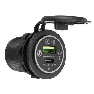 12V-24V PD QC 3.0 Quick USB Charger Type C Car Charger Socket for Car RV Caravan Boat Motorcycle