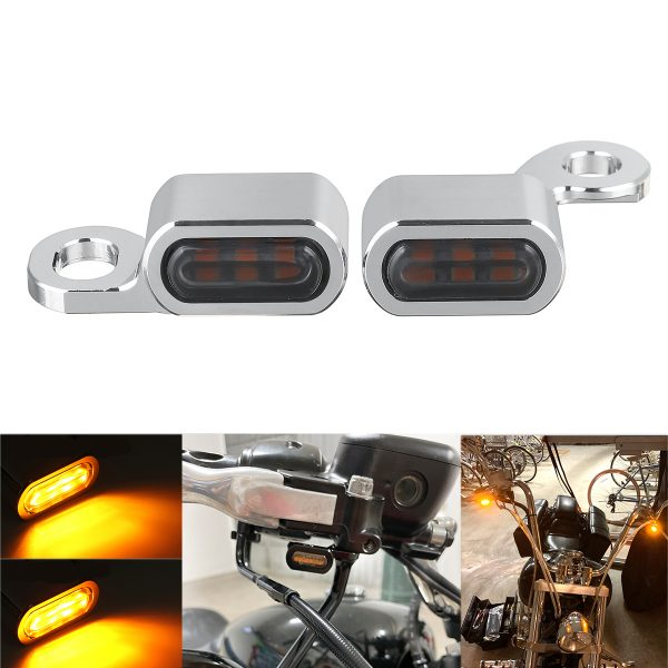 2Pcs 12V Motorcycle Amber LED Mini Turn Signal Indicator Running Light Lamp For Harley