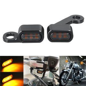 2Pcs Motorcycle Mini LED E Mark Turn Signal Light Running Indicator Lamp For Harley Sportster 2004-2020