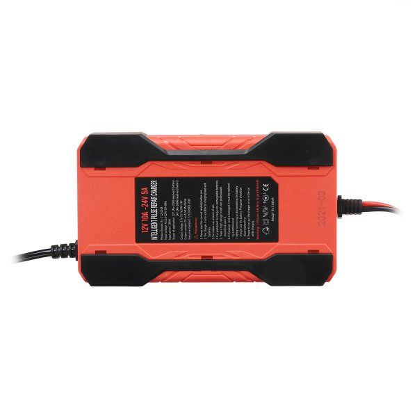 12V 24V 10A Full Automatic Battery Charger LCD Display Power Pulse Repair Charge for Car Motorcycle