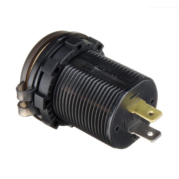 QC 3.0 12-24V Touch Switch Fast Charger Socket Voltmeter Dual USB LED Digital Display Voltage