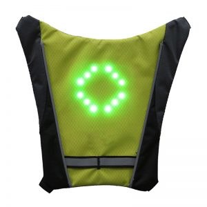 LED Wireless Safety Vest Warning Light Reflective for Riding Cycling Night MTB Bike Bag With Remo
