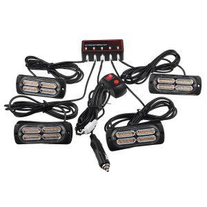 4/6x40LED 12V/24V Amber Emergency Strobe Flashing Grille Beacon Lamp Lightbar For Truck