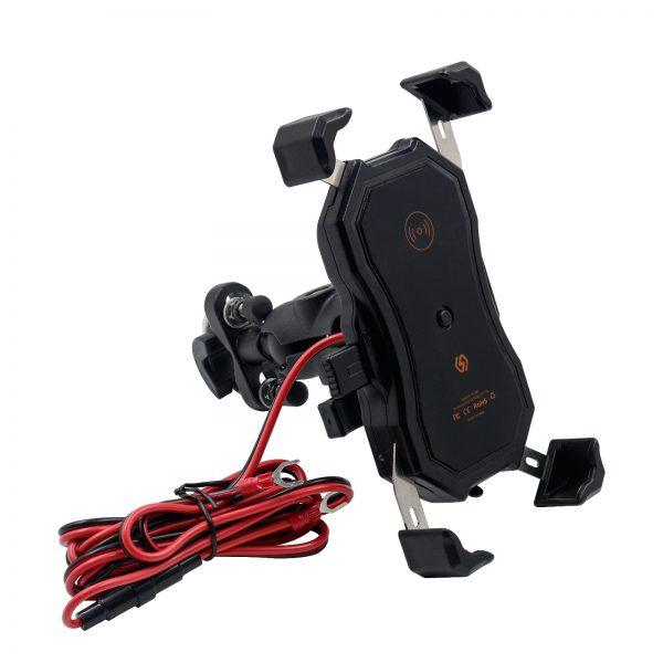 4.7-6.5 Inch Qi Wireless USB QC3.0 Fast Charging Waterproof Handlebar Mirror installation Phone Mount 360 Rotation For Motorcycle Bike