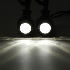 12V/24V 10-30V 60W 4000LM Pair Second Generation Motorcycle LED Auxiliary Fog Spot Light with Protector Cover and Wiring Harness Switch For BMW R1200GS F800GS