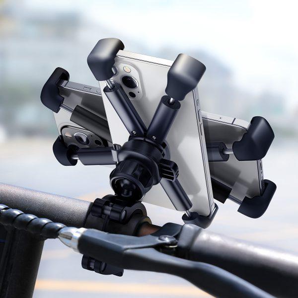 Baseus 4.7-6.7inch Adjustable Phone GPS Holder Handlebar Mount 360 Rotation For Motorcycle Bicycle Ninebot Scooter M365