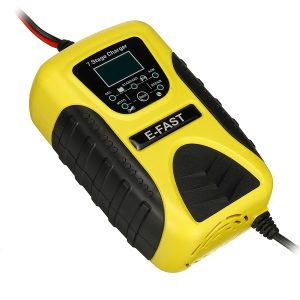E-FAST 12V 7A Pulse Repair LCD Battery Charger Yellow For Car Motorcycle Lead Acid Battery