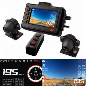 XBHT XB702 3inch 1080P HDR Motorcycle DVR Speedometer Waterproof Dual Dash Camera Front Rear View GPS Track Driving Video Recorder WIthink Super Capacitor