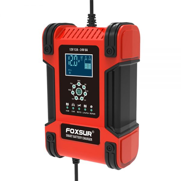 FOXSUR 12V/24V 12A/6A Battery Charger 7-Stage Charging LCD Display Motorcycle & Car Battery Charger for AGM LiFePO4 Lead-Acid Battery