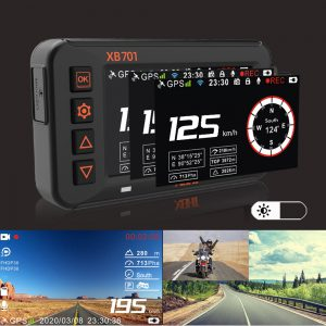 XBHT XB701S 3 Inch Motorcycle DVR Dual Lens Front & Rear 1080P 30FPS Dash Cam WiFi GPS Night Vision Track Driving Video Recorder Waterproof