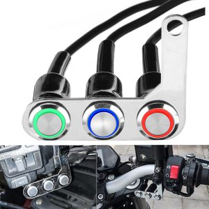 Motorcycle Switch Handlebar ON-OFF Push 3 Buttons Waterproof For Headlight Horn Horn Turn Signal Control with LED