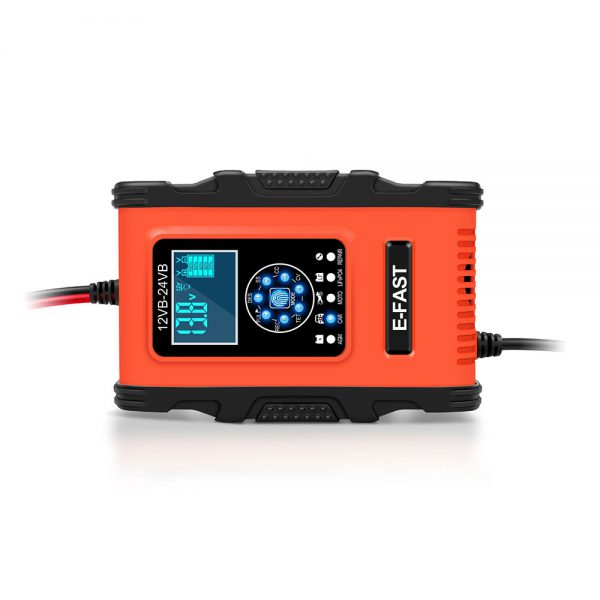E-FAST 12V 24V 12A 6A Battery Charger 7-Stage Charging LCD Display Red for Motorcycle Car Gel AGM LiFePO4 Lead-Acid Battery