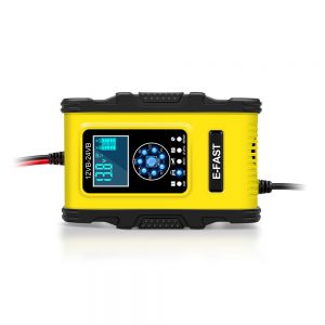 E-FAST 12V 24V 12A 6A Battery Charger 7-Stage Charging LCD Display Yellow for Motorcycle Car Gel AGM LiFePO4 Lead-Acid Battery