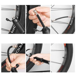 Portable Mini Hand Held Tire Air Pump Inflator Aluminum Alloy High Pressure Maintenance Tool for Motorcycle Car Bicycle Road Mountain Bikes Electric Scooter