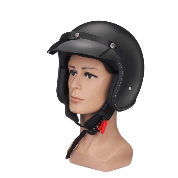 Motorcycle Safety Helmet Half Face with Visor Matte Black M/L/XL/XXL Universal