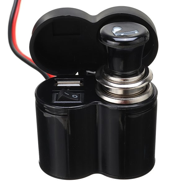 12V-45V 2A USB Charger with Car Lighter Handlebar Mounting for Electric Scooter Motorcycle