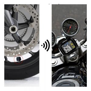 Infitary Motorcycle TPMS Tire Pressure Monitor Tyre Temperature Monitoring System LCD Display With 2 External Sensors Wireless USB Charging
